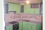 Кухня светло-зеленого салатового цвета МДФ, фасады металлик глянцевый хай тек в Санкт-Петербурге, Спб