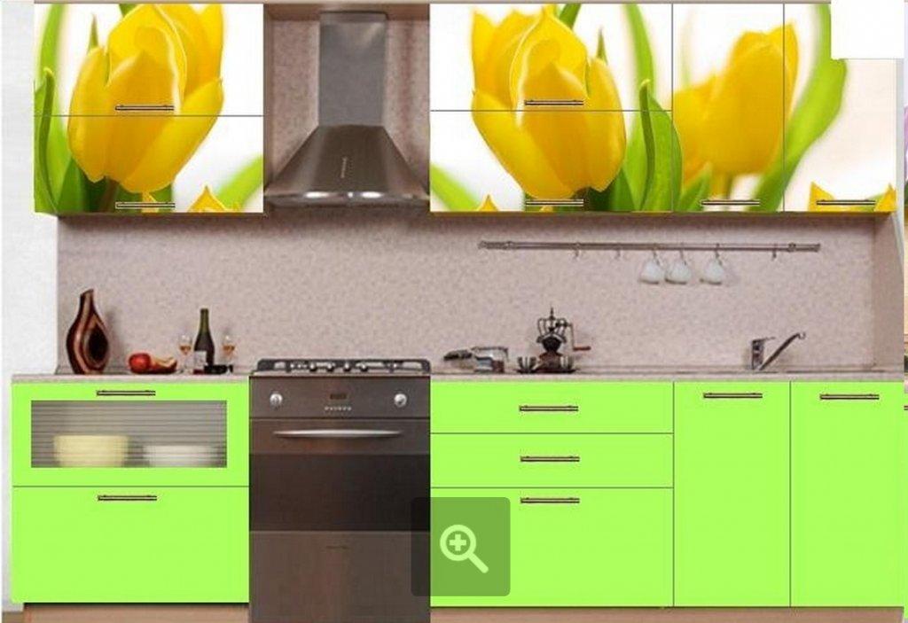 Кухни с рисунком цветов